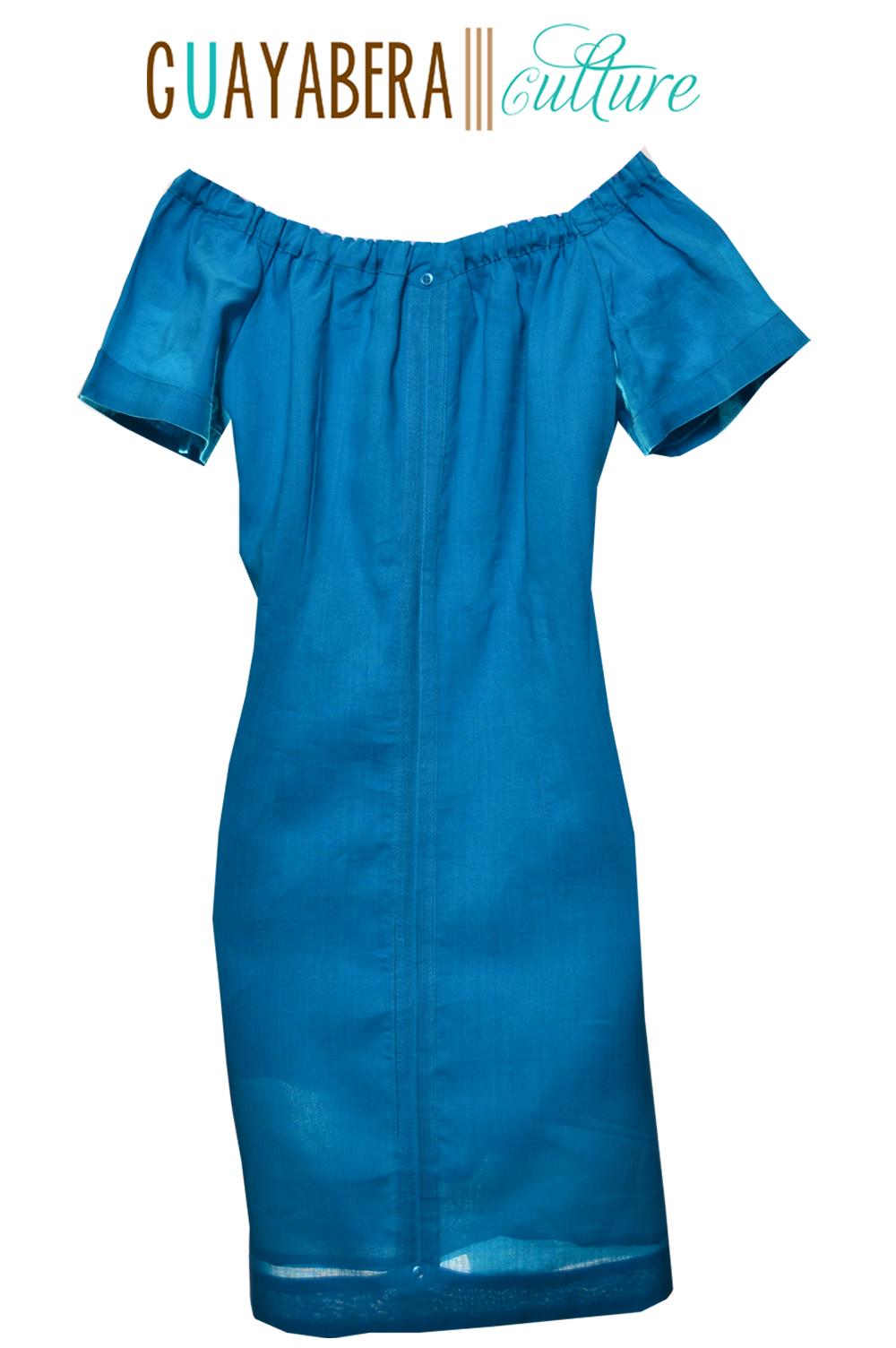 off shoulder short sleeve linen guayabera dress