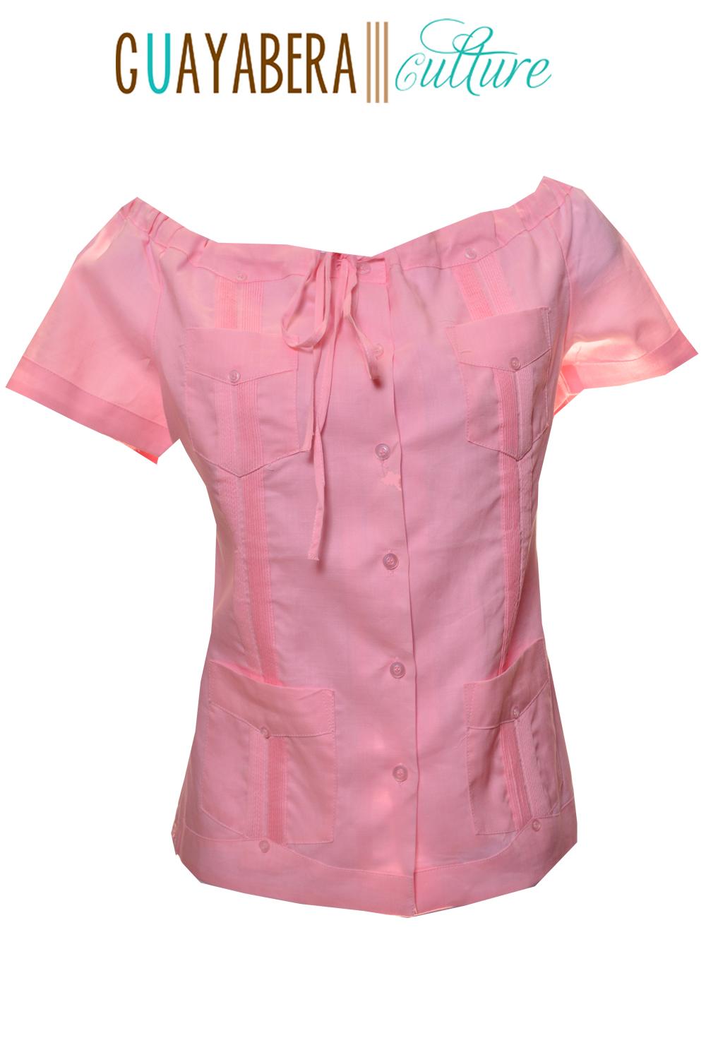 Off Shoulder Linen Pink Guayabera Front