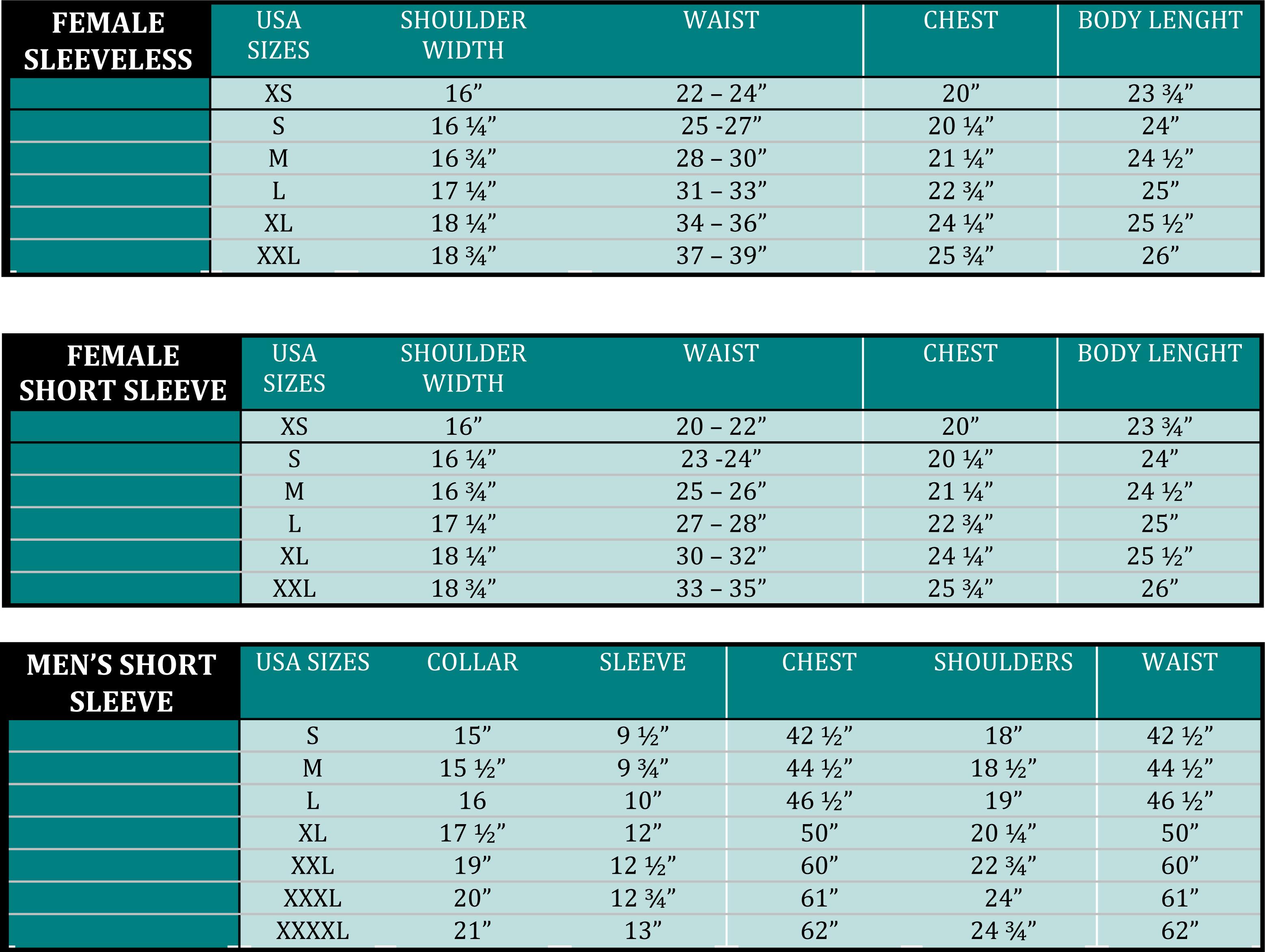 Size Charts Guayabera Culture
